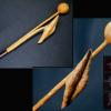 木彫 蓮の花 蕾 観音菩薩 持物 在銘 仏教美術 s-558