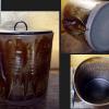茶道具 遠州七窯 高取焼 水指 釉薬の窯変 塗蓋 無傷完品 t-1122