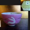 茶道具 抹茶茶碗 朱吹墨兎文 坂本慎太作 可愛いピンクの波ウサギ  t-1132