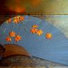 アンティーク 扇形のお細工物 紅葉したモミジ 飾り物 n-64