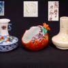 煎茶道具 在銘3点 柘榴の茶巾入れ・白薩摩と京焼の箸立 t-1175