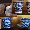 古伊万里染付動物文煎茶碗2客と薩摩錫茶托 万暦年製  t-1182