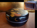 時代 食籠(じきろう) 菓子器 蒔絵螺鈿 錫覆輪付き 柿文様 明治16年 k-208