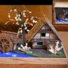 江戸小物細工 水車と柿の木 茅葺き屋根の田舎家 s-564