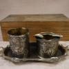 アンティーク 精緻な金工細工 小ぶりなトレー付き灰皿と煙草入れ 白銅 s-569