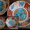 色絵なます皿2客 九谷五彩風絵付け 伊万里焼 t-1211
