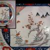 古伊万里色絵一尺2寸大皿 色紙に梅鶯文 春の訪れ t-1252