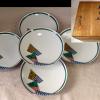 九谷焼 渚陶造 寿司皿5客 モダンで斬新な幾何文 t-1262