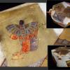 時代 木製六角小箱 舞楽 胡蝶楽など雅な文様 面箱か s-596