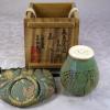 茶道具 茶入 高麗青磁 鳥柳文 韓国人間文化財 柳海剛 柳根瀅 共箱 t-1318