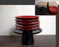 茶道具 木地本漆塗 引き盃と盃台のセット 茶懐石 酒器 k-228