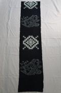 古布   絵絣   藍染 「荒磯 鯉の図」ハギレ ハンドメイド 148cm    n-73