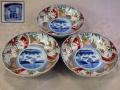 古伊万里色絵膾皿3客 孟宗雪中筍掘り図 角富銘 これからの季節に t-1338
