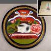 戦前 日光山 眠猫 土人形 素焼き 壁掛け 色彩鮮やか s-602