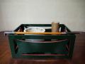 茶道具 莨盆 天然木製漆器 青漆爪紅 糸巻透 手なし煙草盆 火入れ灰吹煙管 k-233