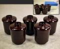 茶道具 箸洗い5客 かぶせ駒筋 天然木製溜塗 小吸物椀 無傷美品 k-237