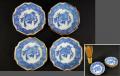 印判手 豆皿4客 六角形 鯛と笹文 径7.5cm 明治~昭和初め頃 t-1383