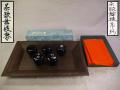 茶歌舞伎盆セット  七事式 盆・木製茶歌舞伎棗・茶歌舞伎帛紗 k-243