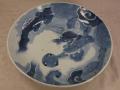 古伊万里染付一尺皿 迫力ある龍文 ダミの濃淡 大明成化年製   t-1422