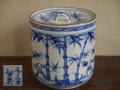 茶道具 京焼 平安宝泉作 染付水指 涼やかな竹林唐子文 t-1424