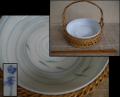 竹製籠付手鉢 陶彩 白峯作 涼感メダカ文様 竹箸付き t-1425