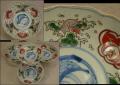 古伊万里色絵膾皿4客 可愛い波兎に稲束文  これからの季節 t-1457