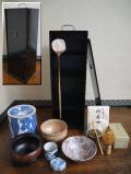 茶道具 短冊箱一式 溜塗鉋目 美品12点セット t-1485
