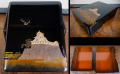 文箱 木地本漆塗梨地 勇壮な熊本城と阿蘇山 k-280