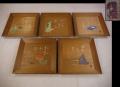 時代 木製方皿 菓子皿5客 図変り 舞楽 雅楽  茶道具 k-283
