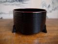 茶道具 塗物 面桶建水 黒漆 千筋 三足脚付き 盃洗か k-288
