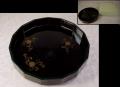 茶道具 天然木 本漆 松声盆 十五角 菓子器 干菓子器 唐松唐草文様  k-289