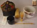 茶道具 茶籠一式 野点用セット 野点籠一揃い 獅噛文長斑錦 一生作 志野茶碗 s-643