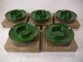 塗物 天然木製 緑漆脚付き茶托5客 茶道具 天目台のような形 k-317