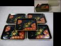 桜文 天然木製 塗皿5客 菓子皿 四方皿花菱文 雅で華やかな文様 k-320
