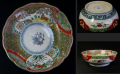 古伊万里色絵大ぶり膾皿 桜と馬の瓢箪窓絵 立湧文など有職文様 t-1579
