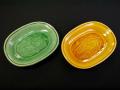 珉平焼 小判形 豆皿2点 龍文 黄釉 緑釉 t-1606