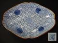 古伊万里 型紙摺印判 隅切り菱皿④  本金補修 二重角渦福銘 t-1638