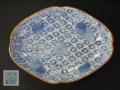 古伊万里 型紙摺印判 隅切り菱皿⑤  本金補修 二重角渦福銘 t-1639