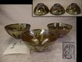 茶道具 小代焼 茶碗3点 古雅鮮麗な垂釉 未使用保管品 t-1656