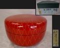 茶道具 朱塗 網目 喰籠(じきろう) 雅峯漆房 夏の菓子器 k-329