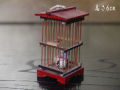時代 細工物 ミニチュア 虫かご スイカと鈴虫 木工 雛道具 ママゴト 高さ6cm   s-661