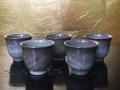 現川焼 横石臥牛 煎茶碗5客 ススキ文 秋にふさわしい茶道具 長崎 t-1714