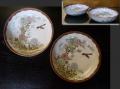 九谷焼 膾皿2客 花鳥文 菊と紅葉 秋の風情 t-1719