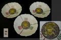 九谷焼 白磁陽刻輪花五寸皿3客 雷神図 雷文 t-1724