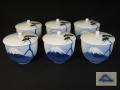 深川製磁 蓋付湯呑茶碗6客 深川ブルーの富士山 t-1732