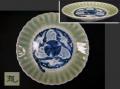 古伊万里 青磁染付 輪花鎬入り 六寸皿 鷺と波文様 t-1743