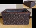 時代 小ぶりな長角火鉢 側面4種の古い版木 花菱・七宝・幾何・紅葉 銅板  k-350