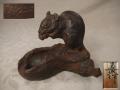 銅製 鼠と茄子 直次作 共箱入り 銅器 飾り物 灰皿  s-685