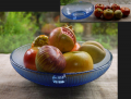 ガラス ブルー深鉢 耳付きオーバル形 ディスプレイ用フルーツ果物見本7個付  g-162