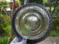 アンティーク 銀覆輪のガラス平皿 愛らしい草花文グラヴィール g-81a